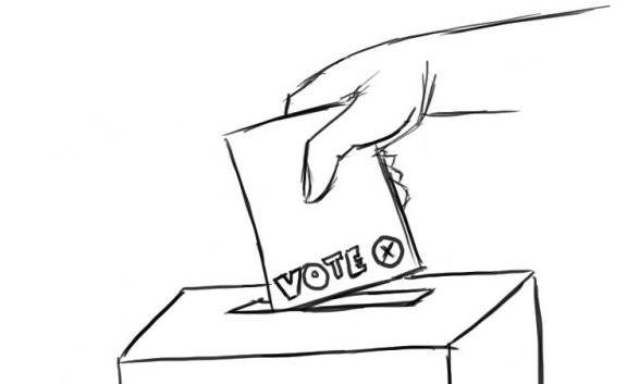 Image du vote d'une personne déposant son bulletin dans l'urne